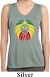 Rasta Lion Head Ladies Sleeveless Moisture Wicking Shirt