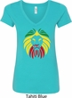 Rasta Lion Head Ladies V-Neck Shirt