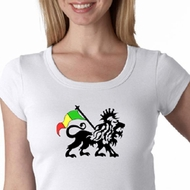Rasta Lion Ladies Shirt Sccop Neck Shirt