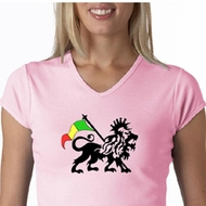 Rasta Lion Ladies Shirt V-Neck Shirt