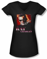 Ray Charles Juniors V Neck Shirt Sing It Black Tee T-Shirt