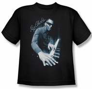 Ray Charles Kids Shirt Blue Piano Black Youth Tee T-Shirt