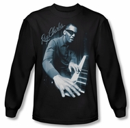 Ray Charles Shirt Blue Piano Long Sleeve Black Tee T-Shirt