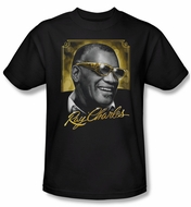 Ray Charles Shirt Golden Glasses Adult Black Tee T-Shirt
