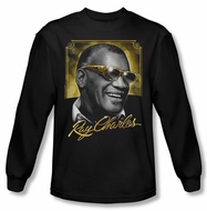 Ray Charles Shirt Golden Glasses Long Sleeve Black Tee T-Shirt