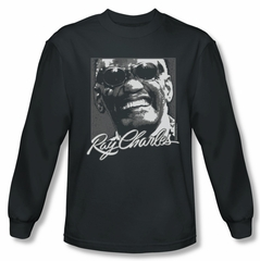 Ray Charles Shirt Signature Glasses Long Sleeve Black Tee T-Shirt