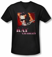 Ray Charles Shirt Slim Fit V Neck Sing It Black Tee T-Shirt