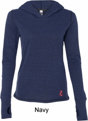 Red Anchor Patch Bottom Print Ladies Tri Blend Hoodie Shirt