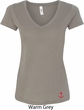 Red Anchor Patch Bottom Print Ladies V-Neck Shirt