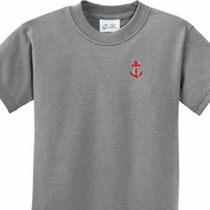 Red Anchor Patch Pocket Print Kids Shirts