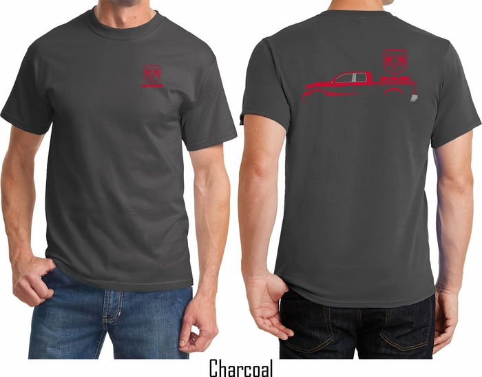 Dodge Ram Hoodie >> Red Dodge Ram Silhouette (Front & Back) T-shirt - Red ...