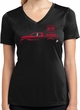 Red Dodge Ram Silhouette Ladies Dry Wicking V-neck