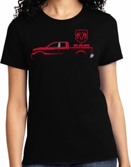 Red Dodge Ram Silhouette Ladies T-shirt