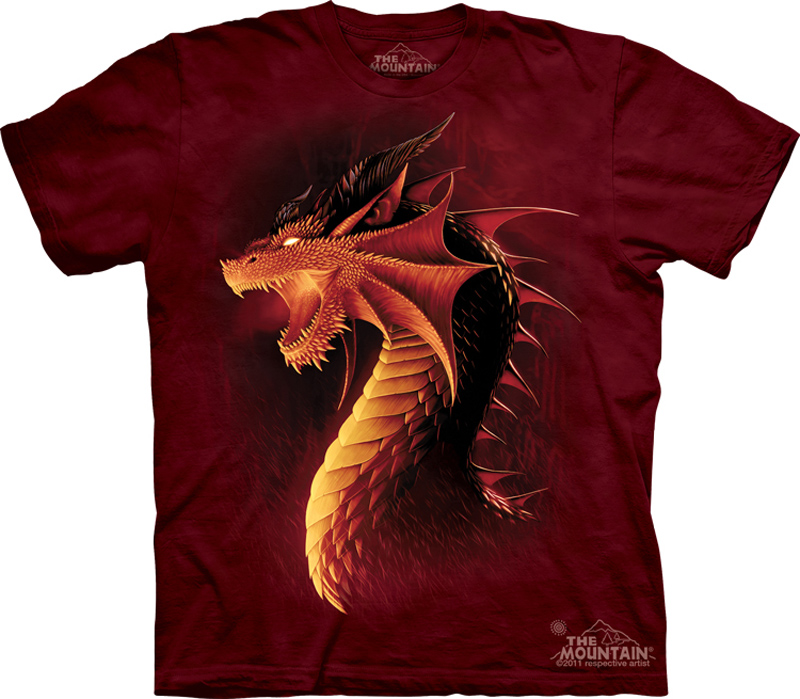 Red dragon shirt tie dye fire t shirt adult tee dragon for How to dye a shirt red