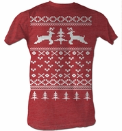 Reindeer T-Shirt � Sweater Shirt Christmas Holiday Adult Red T-Shirt