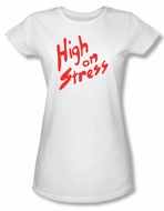Revenge Of The Nerds Shirt Juniors High On Stress White Tee T-Shirt