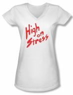 Revenge Of The Nerds Shirt Juniors V Neck High On Stress White T-Shirt