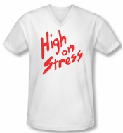 Revenge Of The Nerds Shirt Slim Fit V Neck High On Stress White Tee T-Shirt