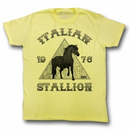 Rocky Shirt Distressed Black Horse Yellow T-Shirt