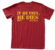 Rocky T-shirt Boxer Die Adult Red Heather Tee Shirt