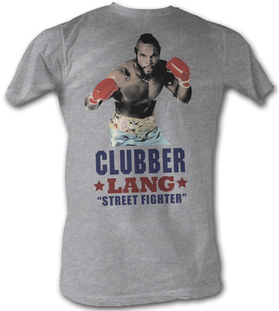 rocky t shirt clubber lang street fighter adult gray tee shirt rocky adult shirts. Black Bedroom Furniture Sets. Home Design Ideas