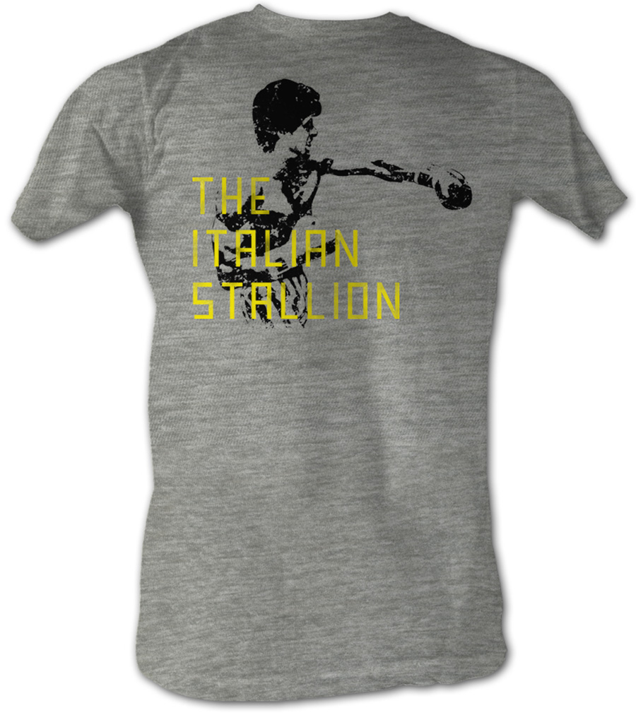 Rocky t shirt stallion block text adult heather gray tee for Photo t shirts with text