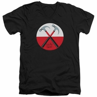 Roger Waters Slim Fit V-Neck Shirt The Wall Hammers Black T-Shirt
