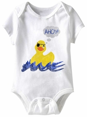 Rubber Duckie Ahoy Funny Baby Romper White Infant Babies Creeper