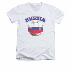 Russia Soccer Futbol Shirt Slim Fit V Neck White Tee T-Shirt