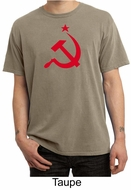 Russian Shirt Hammer and Sickle Red Print Adult Pigment Dyed T-shirt