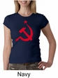 Russian Shirt Hammer and Sickle Red Print Ladies Crew Neck Shirt
