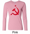 Russian Shirt Hammer and Sickle Red Print Ladies Long Sleeve Shirt
