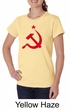 Russian Shirt Hammer and Sickle Red Print Ladies Organic T-shirt