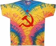 Russian Shirt Hammer and Sickle Red Print Woodstock Tie Dye T-shirt
