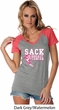 Sack Breast Cancer Ladies Contrast V-Neck Shirt