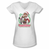 Santa Clause Shirt Juniors V Neck Penguin Pal White T-Shirt