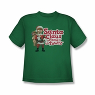 Santa Clause Shirt Kids Logo Kelly Green T-Shirt
