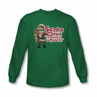 Santa Clause Shirt Logo Long Sleeve Kelly Green Tee T-Shirt
