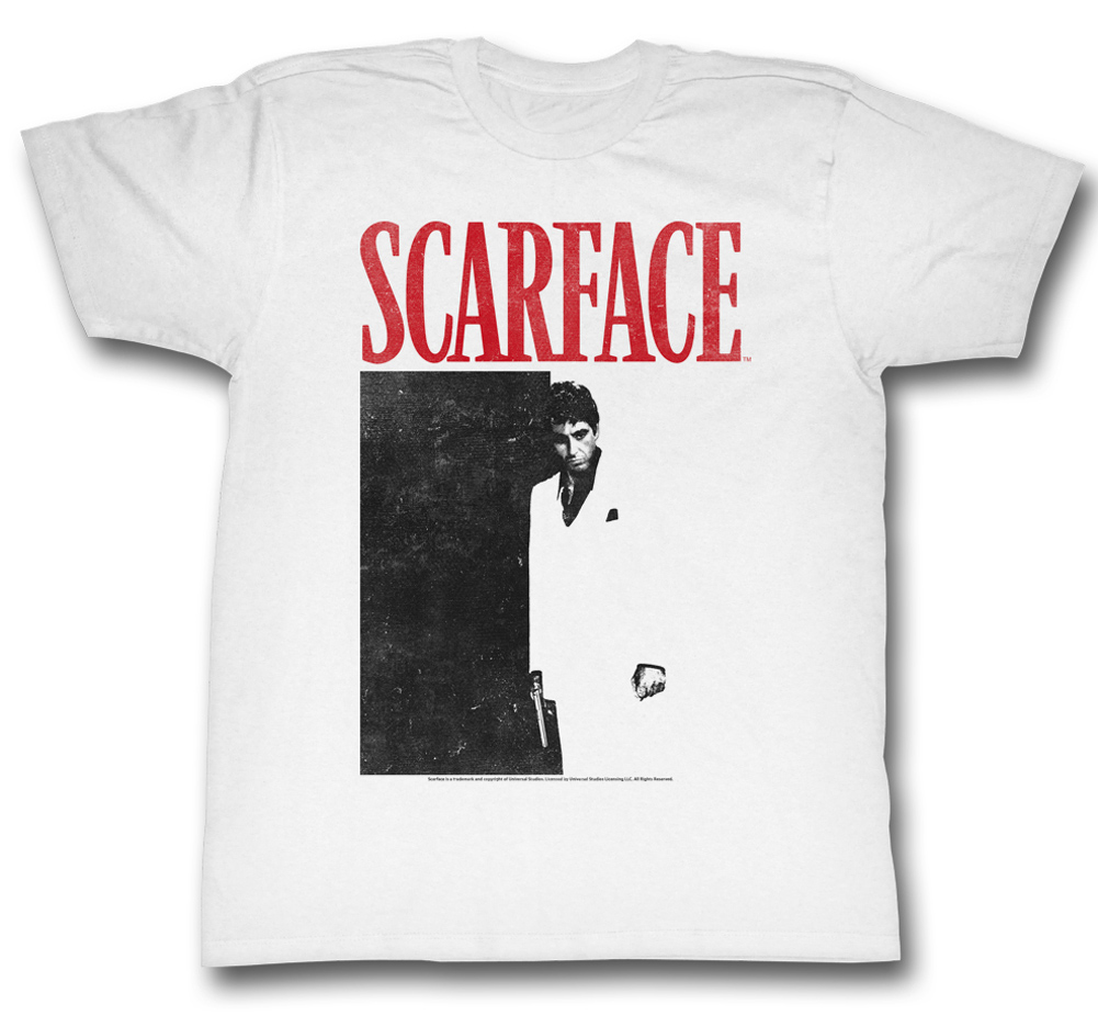 Scarface shirt black and red adult white tee t shirt for Black white red t shirt
