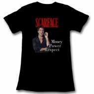 Scarface Shirt Juniors Money Power Respect Black T-Shirt