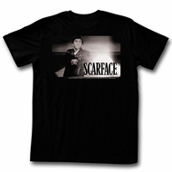 Scarface Shirt Muzzle Flash Black and White Black T-Shirt