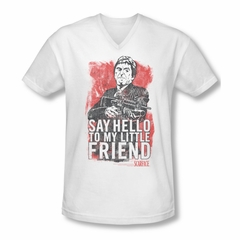 Scarface  Shirt Slim Fit V Neck Little Friend White Tee T-Shirt