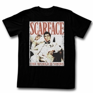 Scarface Shirt The World Is Yours Distressed Black T-Shirt