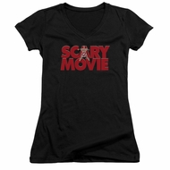 Scary Movie  Juniors V Neck Shirt Logo Black T-Shirt