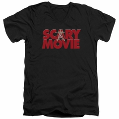 Scary Movie  Slim Fit V-Neck Shirt Logo Black T-Shirt