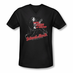 School Of Rock Shirt Slim Fit V Neck Rockin Black Tee T-Shirt