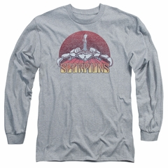 Scorpions Long Sleeve Shirt Distressed Logo Athletic Heather Tee T-Shirt