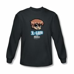 Scott Pilgrim Vs. The World Shirt 1 Up Long Sleeve Charcoal Tee T-Shirt