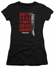 Scream  Juniors Shirt What's Your Favorite Scary Movie Black T-Shirt