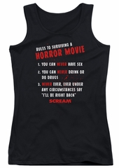 Scream  Juniors Tank Top Rules To Surviving A Horror Movie Black Tanktop